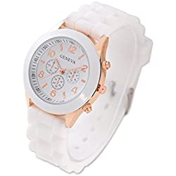 Geneva Jelly Silicone Rubber Water Resistant Men Women Teen Boys Girls Unisex Trendsetter Quartz Analog Sports Wrist Watch - White