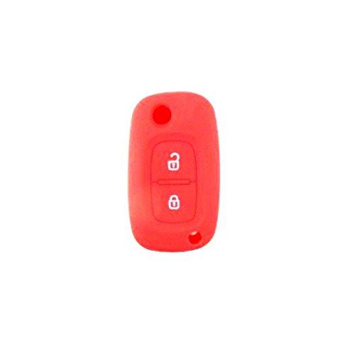 Brightparts® Silikon Schlüsseletui Hülle Etui Schlüssel Cover für Renault mit 2 Tasten Schlüssel (Rot)