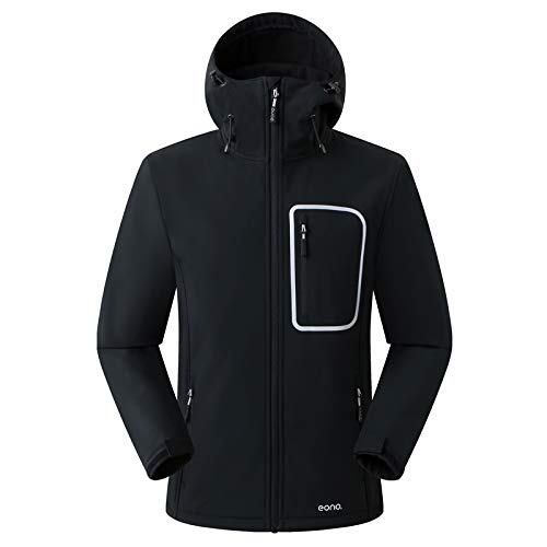 Eono Essentials Veste souple pour homme avec capuche fixe (TailleS, Noir),veste homme hiver,veste softshell homme