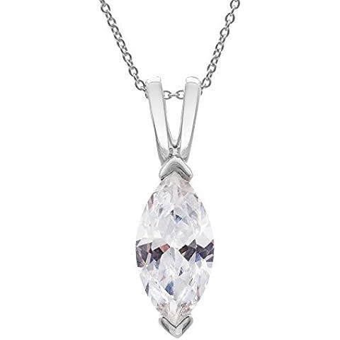 Silverly Pendiente De La Mujer En Plata De Ley 925 Collar Con Circonita Corte Marquesa Ojos, 46 Cm