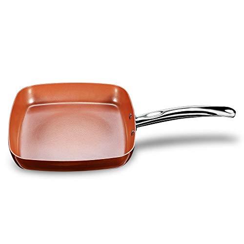 Cucsaist Antihaft Kupfer Quadratische Bratpfanne Pfanne Mit Keramikbeschichtung Ofen Spülmaschinenfest Küche Bratpfanne Kochgeschirr Kochpfannen 24 cm