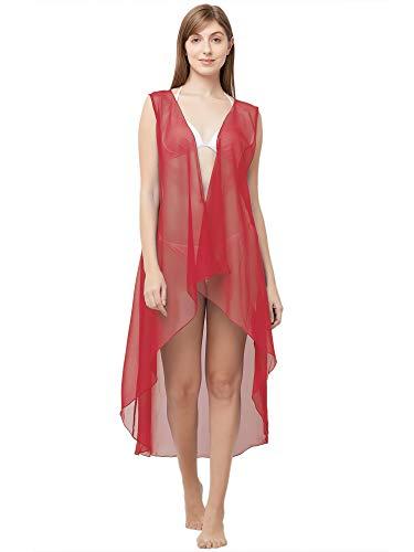 Sourbh Damen Georgette Strandbekleidung, ärmellos, Badeanzug (freie Größe) - Rot - Einheitsgröße -