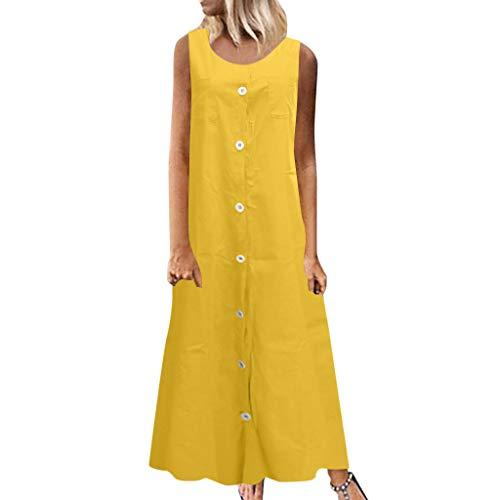 Maxikleid Damen Sommer Lange Tank Kleid Causal Gerades Strandkleid Einfarbig Ärmellos Sommerkleid Mit Knopf Und Tasche -