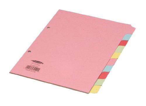 Concord - Separadores para archivador (A5, 10 divisiones, pestañas de colores)