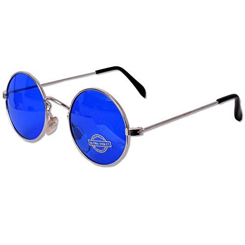 tevenger Nickelbrille Runde Nerd Sonnenbrille UV400 Rund Damen Herren Zubehör Randfarbe Silber Glas Blau 42mm