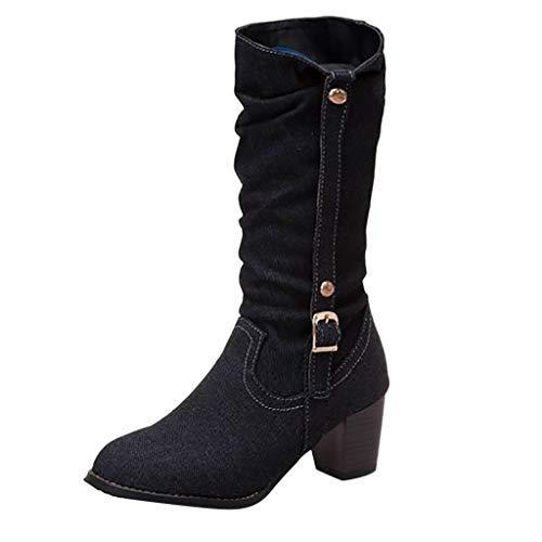 ❤Loveso❤ Damen Comfort Sport Hohe Stiefel 2019 Cowboy Blockabsatz Plateau Bootie Fashion rutschfest Hohe Stiefel Student
