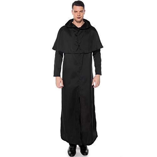 Kostüm Alte Krankenschwester - Halloween Nach Kleidung Cospaly Zauberer Robe Mantel Priester Kleidung Zauberer Hexe Kostüm, Schwarz, XL