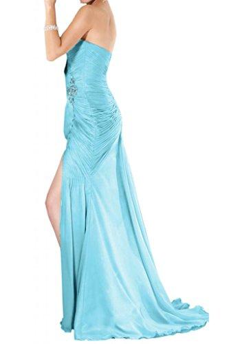 Toscana sposa elegante completamente a forma di cuore kraftool stanotte vestiti lunga Chiffon sposa giovane a lungo Party Ball Bete vestimento Blu