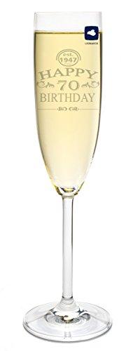 Leonardo Sektglas mit Gravur Happy Birthday 70 Jahre Sekt-Glas graviert Geburtstag Geschenkidee