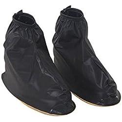 Hombres reutilizable impermeable Protector antideslizante alto elástico funda de tela de zapatos de cubrezapatillas de ciclismo (negro con cremallera Nieve Lluvia Funda de Protección cubre lluvia Gear, negro, XXL