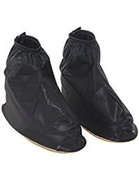 Hombres reutilizable impermeable Protector antideslizante alto elástico funda de tela de zapatos de cubrezapatillas de ciclismo (negro con cremallera Nieve Lluvia Funda de Protección cubre lluvia Gear, negro, mediano