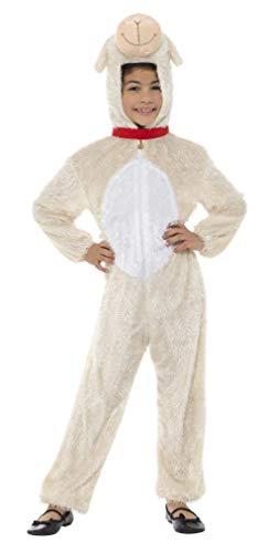Smiffys Kinder Unisex Lamm Kostüm, Jumpsuit mit Kapuze, Größe: S, 30799