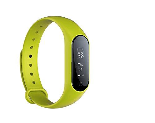 Monitor de actividad física Monitor de frecuencia cardíaca en tiempo real, Smart Pulsera Fitness Pulsera Podómetro con Step Tracker / Calorie Counter / Sleep Tracker Notificación de llamada Push para (Verde)