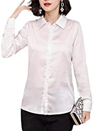 MK988 Womens Work Long Sleeve Tops Satin Blouse Button Up Shirts