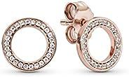 Pandora Women's 14K Rose Gold Plated Silver & Clear CZ Stud Earrings -