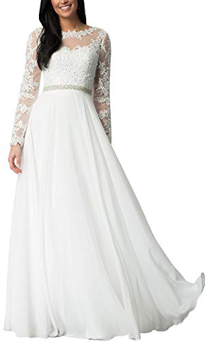 a313a736f Aofur Womens Long Sleeve Party Evening Dresses Formal Wedding Prom Cocktail  Gown Ladies Lace Chiffon Maxi