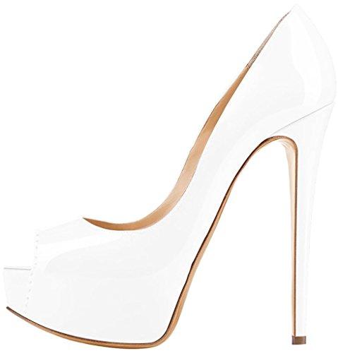 Calaier Femme Caroad 15CM Aiguille Glisser Sur Sandales Chaussures blanc B