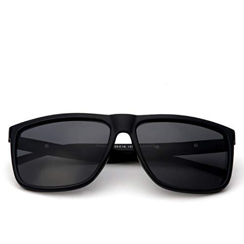 Honneury Herren Sonnenbrillen Classic Oversized Sonnenbrille UV400 Schutz Sonnenbrillen (Farbe : Clear Black Frame/Gray Lens)