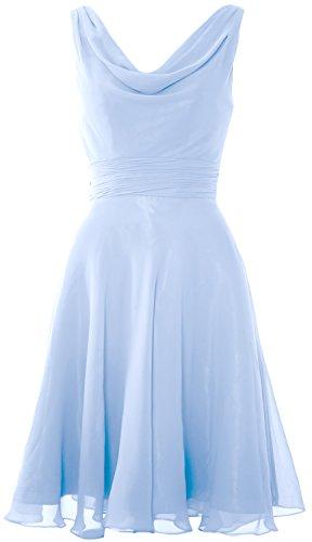 MACloth Elegant Cowl Neck Cocktail Dress Short Wedding Party Bridesmaid Gown Sky Blue