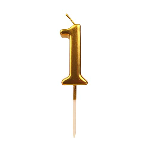 Toyvian Number Candles Cake Candles Gold Glitter Feliz cumpleaños Velas Cake Topper para Adultos Kids Party Decoration (Número 1)