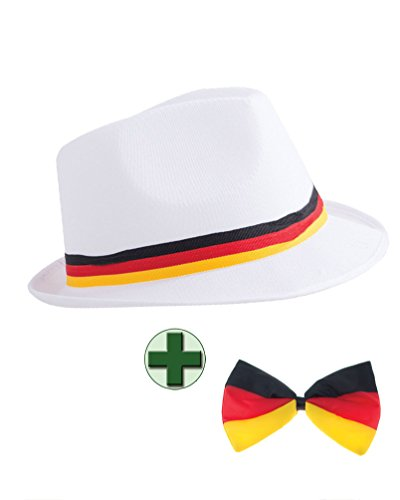 Fußball Klamotten Hut Deutschland Cap WM Deutschland Fan-Hut mit Fliege Deutschland schwarz rot Gold WM Artikel Deutschland 2018