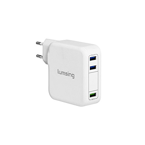 Lumsing Quick Charge 3.0 35W USB Ladegerät Wand Ladeadapter, 1 Port QC3.0 + 2 Port mit Smart IC Technologie Wall Charger für iPhone7/ 7Plus, iPad, HTC One A9/M9, Nexus 6, LG G5 V10 ,Smartphones Tablets und andere USB-ladende Geräte (Weiß)