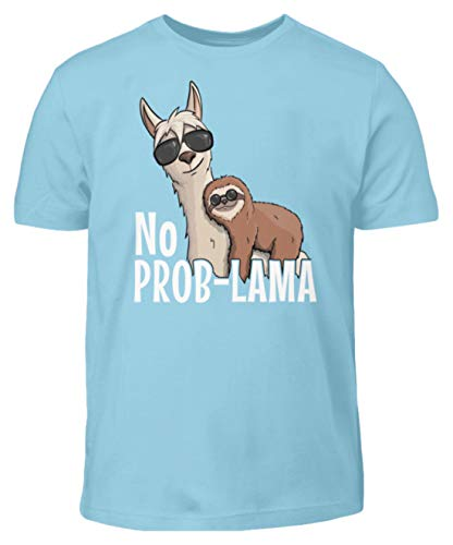 No ProbLama Kein Problem | Hipster Lama Alpaka mit lässigem Chill Faultier & Sonnenbrille - Kinder T-Shirt -9/11 (134/146)-Himmelblau