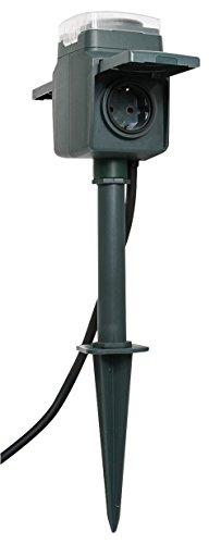 Proventa   Gartensteckdosen   Außensteckdose   Stromverteiler   Erdspieß 2-fach   zwei Steckdosen   Zeitschaltuhr   Dämmerung, Garten:Erdspieß 2-fach Dämmerung