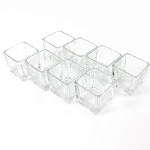 8 x Kleines Windlicht Glas / Teelichtglas KIM, klar, 6 x 6 x 6 cm - Windlichtglas / Teelichthalter - INNA Glas