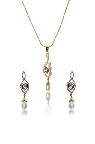 Sempre London 18k Gold Two Tone Plated Pearl Delight Pendant Necklace with Designer Earrings in Cz Crystal Diamonds for Girl &