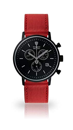 DETOMASO Milano Mens Watch Chronograph Analog Quarz Dark red Leather Strap Black dial DT1052-P-824