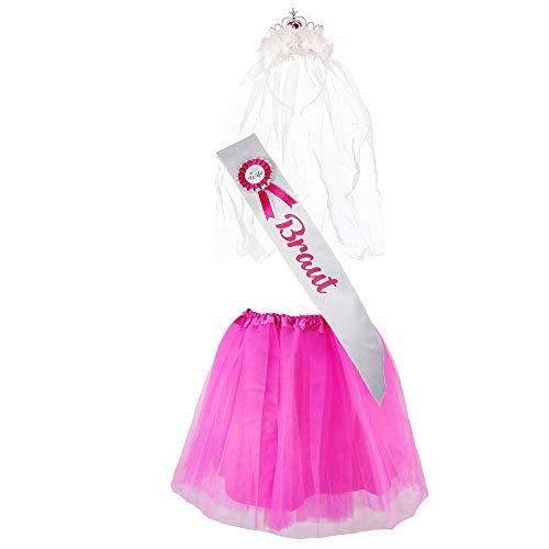 """(Partybob JGA-Kostüm """"Braut"""" - Junggesellinnenabschied-Verkleidung (32-36, Weiß/Pink))"""
