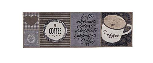 Bavaria Home Style Collection Küchenläufer Küchenmatte Dekoläufer für Küche Teppich Läufer Küchenteppich waschbare Matten Küchendeko Modell Coffee Herz - Nostalgie Optik - Größe ca. 50 x 150 cm - Tuft-teppich-matte