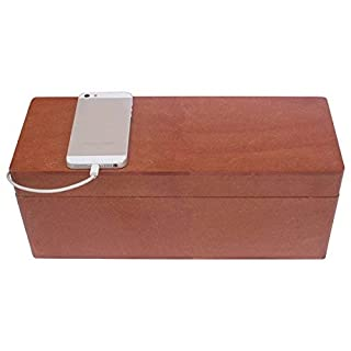 Black Friday Deals Cyber Monday Deals - AB Handicrafts - 13x5 Inches MDF Large Magnetic Brown Cable Box - Cable Management Box Organizer USB Hub Hides All Wires and Surge Protectors
