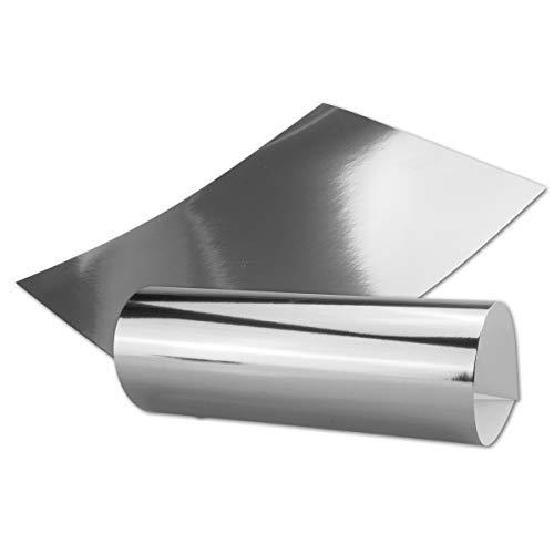 Silber Metall Spiegel Papier - 10er-Set - spiegelnd Silber - Rückseite Weiß und Bedruckbar - DIN A4 21,0 x 29,5 cm -in hochwertiger Geschenkschachtel/Aufbewahrungsbox