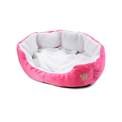 Paw-weiches Plüsch-Hundebett für kleine Hunde-Welpen-Bett-Katze Tiere Bedarf Lounger für Hunde Kätzchen-Haus-Matten Haustier-Produkt, Rose, 43X39X14 cm