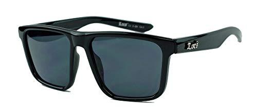 LOCS® Herren Sonnenbrille Flat Top Modell trapezförmige Gläser schwarz 95