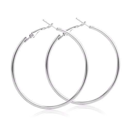 SHUCHANGLE Minimalistische Hoop Ohrringe Große Glatte Kreis Ohrringe Promi Marke Schleife Ohrringe Für Frauen Schmuck, 7 cm Silber