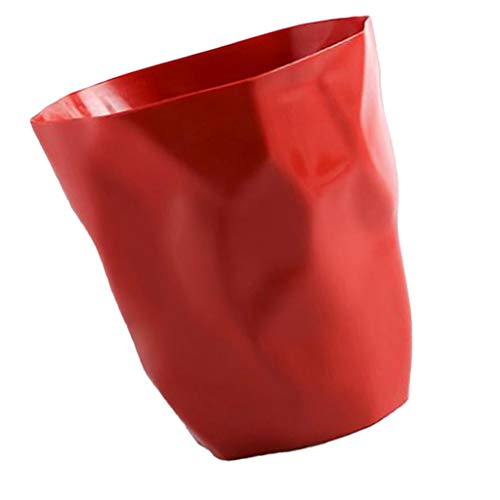 Baoblaze cestino per la carta, cestino spazzatura design moderno, pattumiera creativa irregolare semplice moderna, adatto per home office, auto, hotel - rosso grande