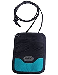 Portadocumentos de cuello, GOX Premium 420D Nylon Bolsa de Viajero para Documentos con Nudo de Seguridad Antirobo / Cartera colgante / Bolsa de viaje (Corto, Azul)