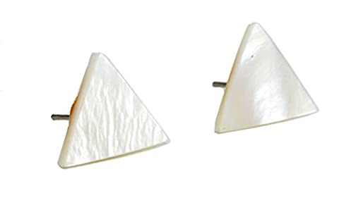 Simple Mother of Pearl (Shell) Triangle Stud Earrings (in Organza Bag)