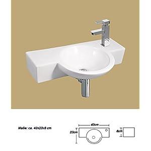1x Cerámica lavabo pequeño rectangular pared montaje para lavabo cerámica 40x 23x 8cm