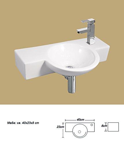 1 lavabo in ceramica piccolo rettangolare, montaggio a parete, 40 x 23 cm