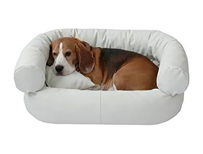 Fergus–Cama para perros de piel sintética Perros perro Sofá Sofá 50x 70cm, color blanco