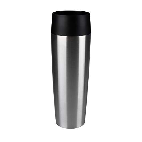 Emsa 515614 Travel Mug Standard-Design Grande, Thermobecher/Isolierbecher, 500ml, hält 6h heiß/ 12h kalt, 100% dicht, auslaufsicher, Easy Quick-Press-Verschluss, 360°-Trinköffnung, Farbe edelstahl