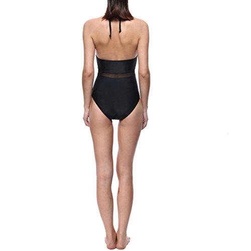 Zhuhaitf Donna Women's Printed Plunge Deep V Neck Swimsuit Halter Bikinis Monokinis Swimwear Bathing Suits Black