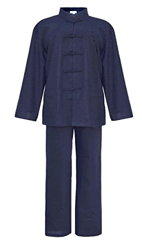 - Cómodo para las artes marciales y el hogar  - solapas de satén en las mangas  - Los pantalones: cintura elástica y cordón, 2 bolsillos en las costuras laterales  - La chaqueta: 2 bolsillos de parche cuello mao con 5 ranas  - material: 55% lino y 45...