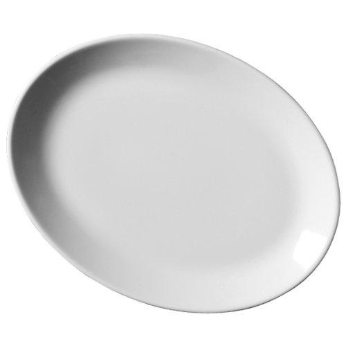 Royal Genware Porcelain Lot de 6 assiettes ovales en porcelaine, Blanc, 31 cm
