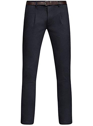 oodji Ultra Homme Pantalon Chino avec Ceinture Bleu (7900N)