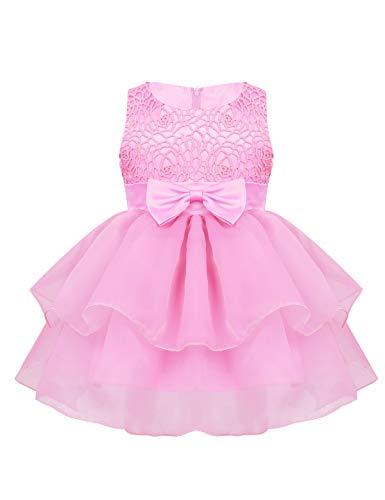 Taufkleid Blumenmädchen Kleid Hochzeit Geburtstag Bowknot Floral ärmellose Prinzessin Formelle Kleidung für Kleinkinder Rosa 50-68/0-6 Monate ()